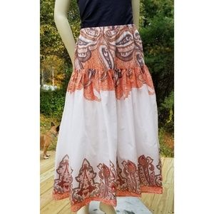 New Direction Paisley Boho Maxi Skirt,  M